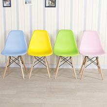 创意榉木北欧电脑伊姆斯洽谈餐椅 塑料靠背办公会议咖啡实木椅子
