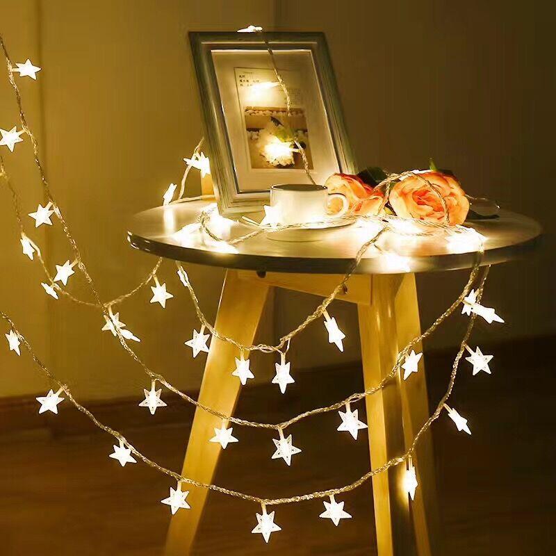 led星星灯串电池圆球小彩灯闪灯串灯圣诞节房间窗帘灯ins生日装饰