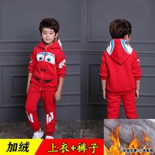男童冬装套装儿童奥特曼蜘蛛侠加绒加厚衣服圣诞节童装 一件代发