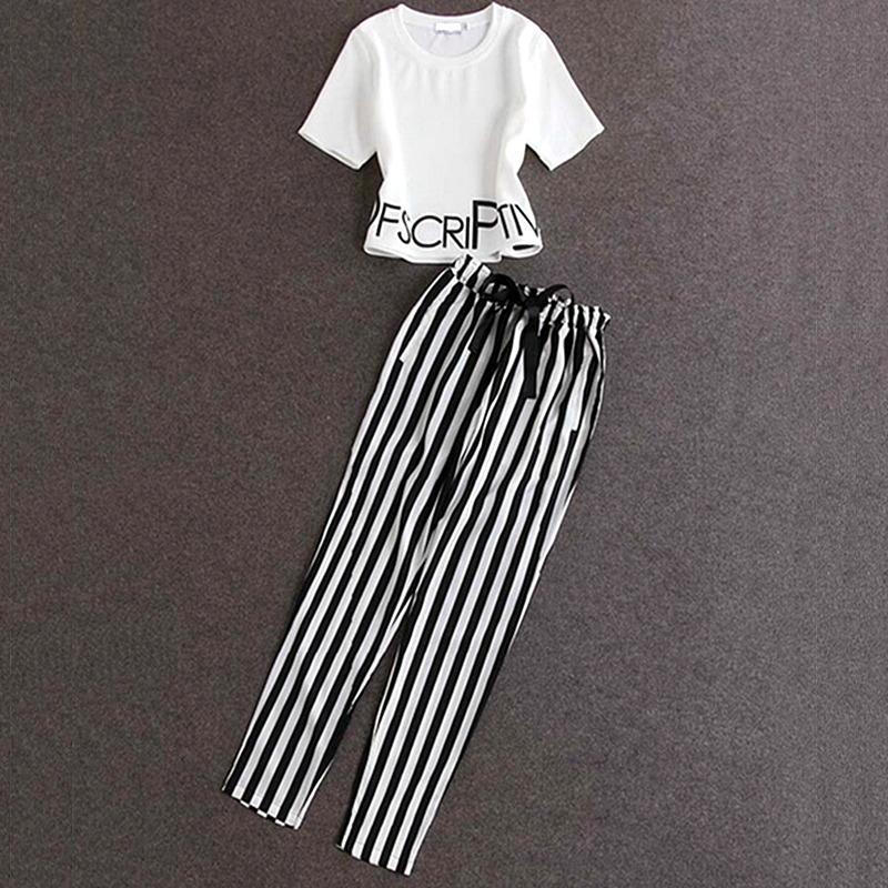 2019韩版女士夏季两件套t恤+休闲裤修身显瘦新款时尚套装条纹裤子
