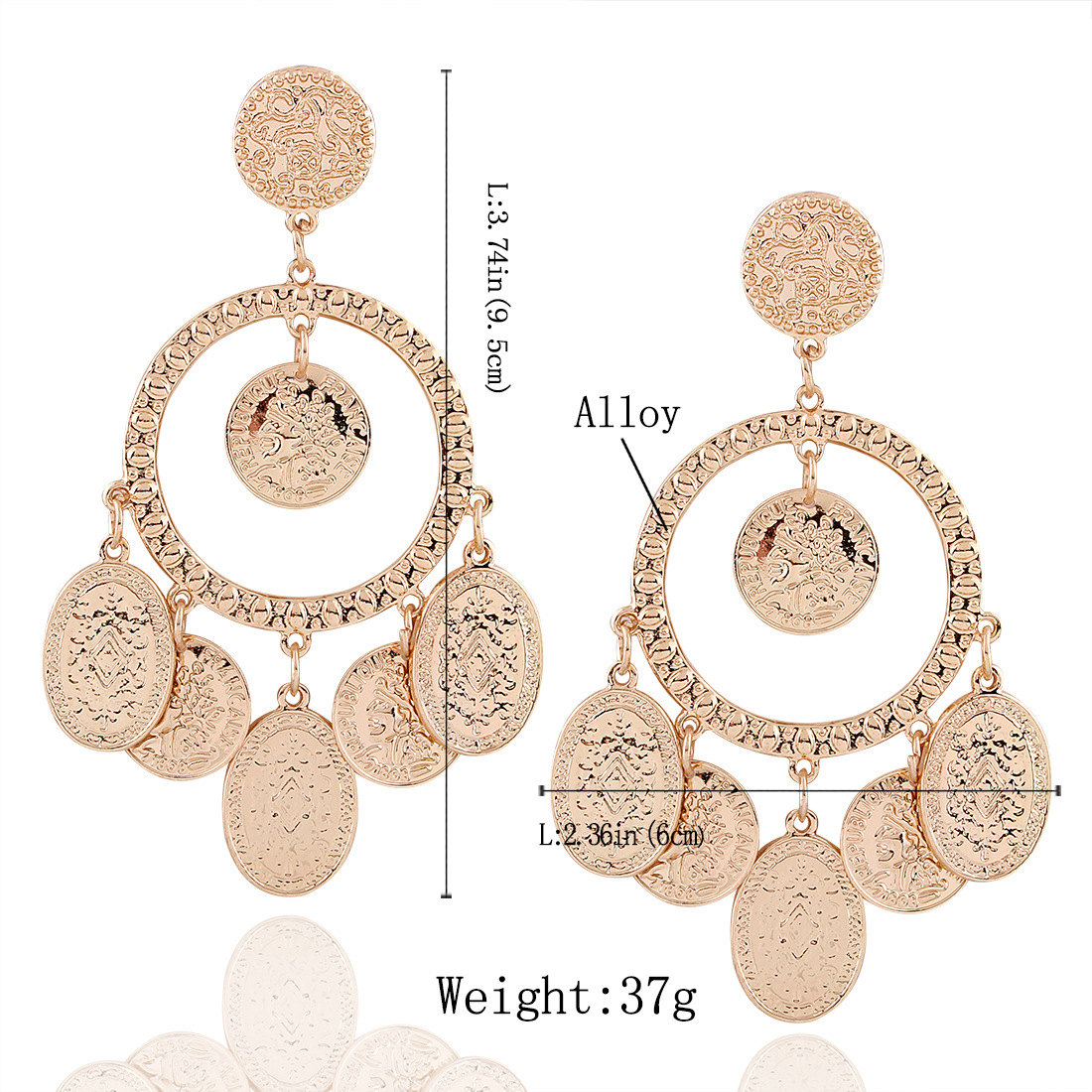 Occident and the United States alloy plating earring (Gold)NHNMD3745-Gold