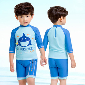 New Style Small zhong tong Cartoon Mouth Fish Cute Boy Split & Spa Suit Swimsuit Three-Piece Suit Children's Swimwear
