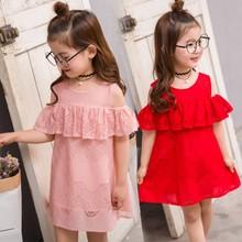 韩版新款儿童中小童露肩镂空裙子童装女童蕾丝公主裙礼服裙连衣裙