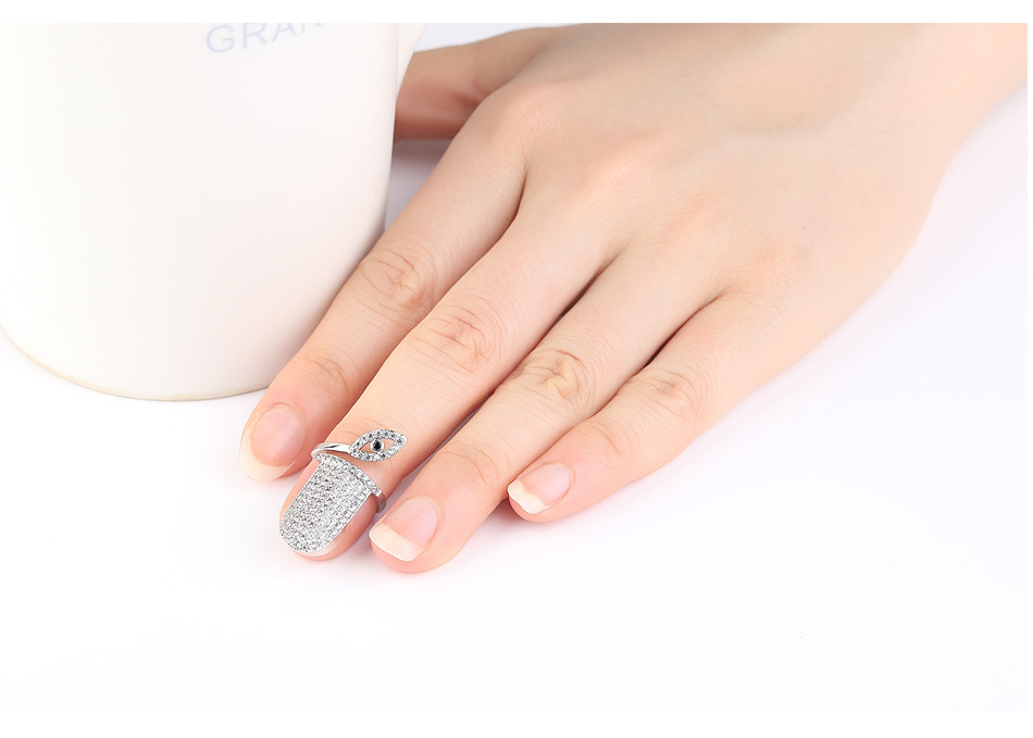 Alloy Simple Geometric Ring  (Nail ring white alloy-T19E27) NHTM0588-Nail-ring-white-alloy-T19E27