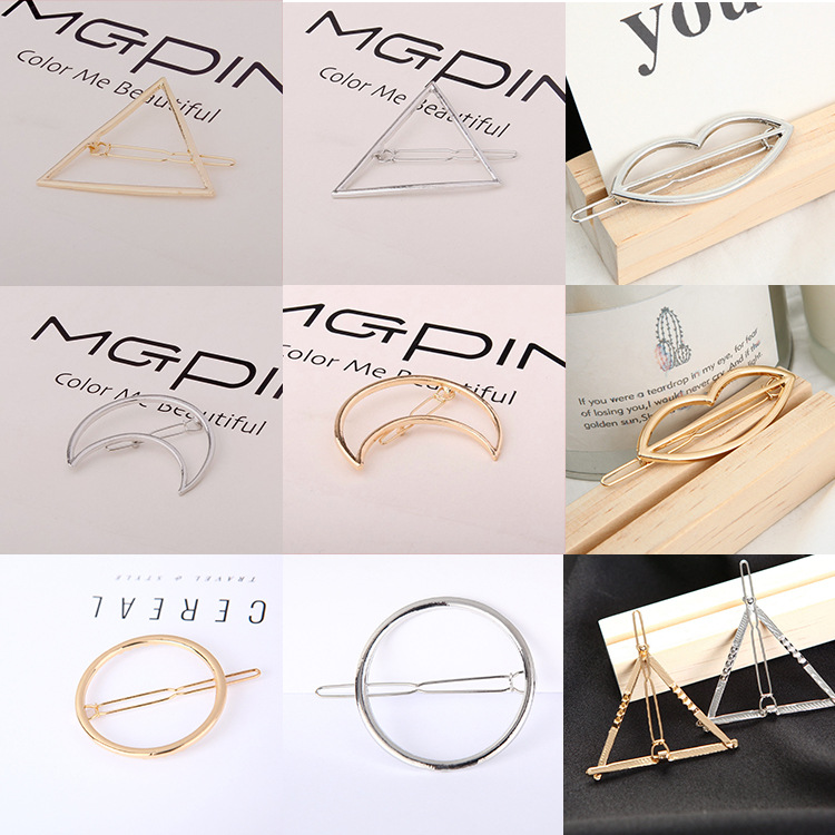 Europe and America big brand exaggerated triangle moon hairpin simple geometric modeling side hairpin Yiwu factory wholesale