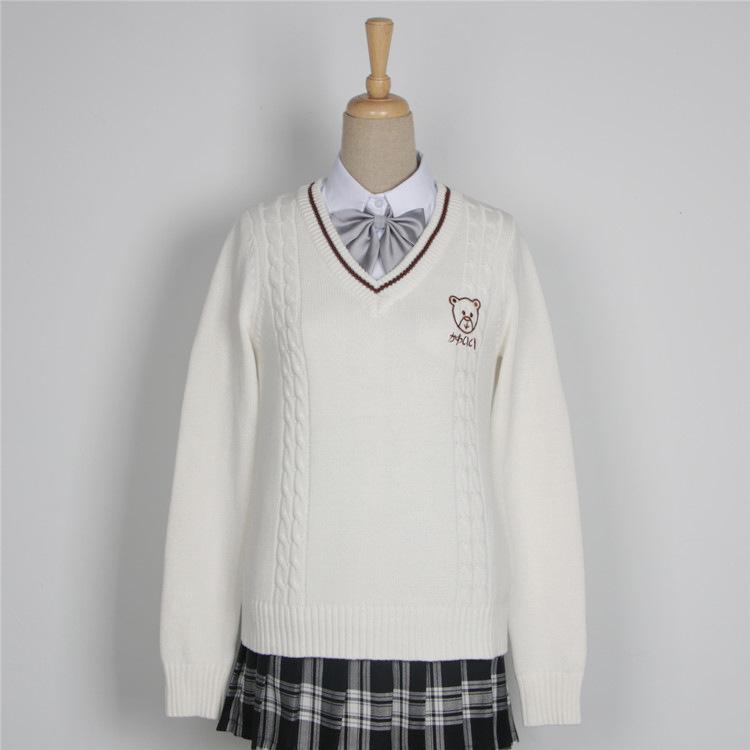 日系软妹小熊jk情侣毛衣学院英伦风JK制服刺绣V领男女长袖毛衣