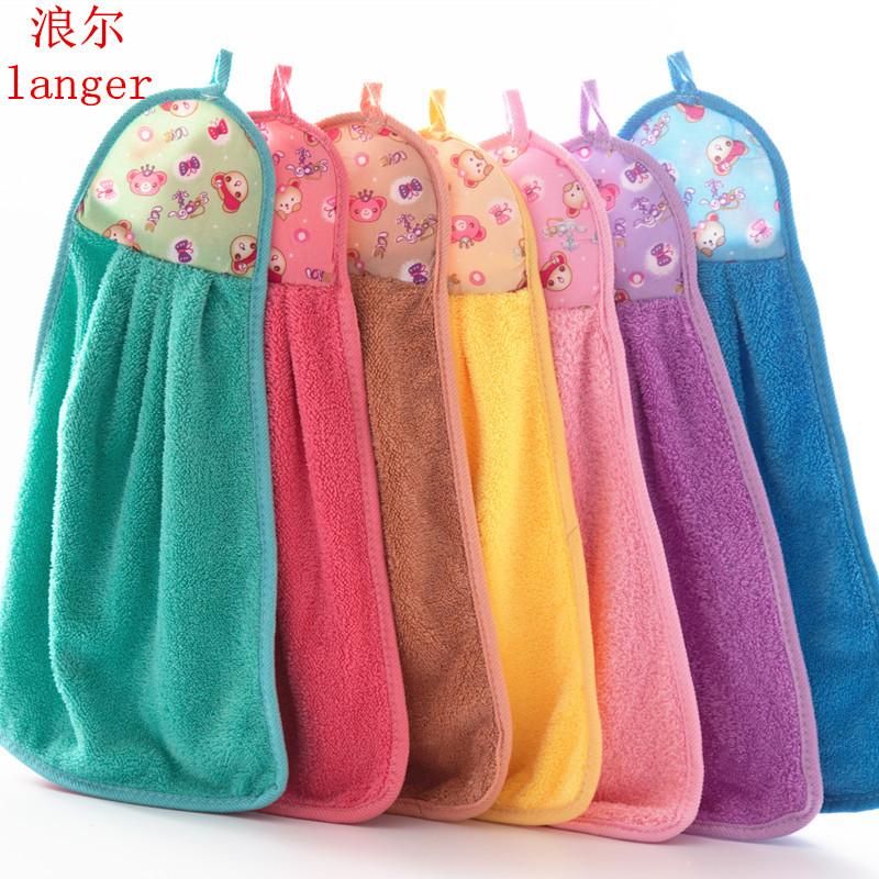 创意厨房可挂式擦手巾 儿童成人毛巾 大号吸水加厚珊瑚绒擦手巾