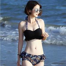 分體泳衣女 新款韓版小胸蕾絲罩衫比基尼三件套度假沙灘泳裝