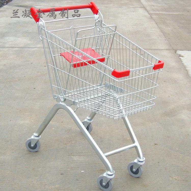 厂家批发超市商场金属欧式便携带凳子购物车折叠手推车可定制logo