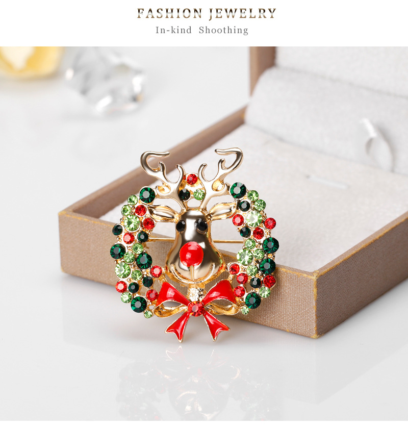 Cartoon Elk Brooch Fashion Alloy Drops Animal Pin Christmas Brooch NHDR179483