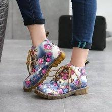 韩国复古系带碎花马丁靴女英伦风冬平底女靴布靴子春秋短靴