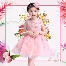 薄款儿童公主蓬蓬裙花童礼服女童背心婚纱裙演出服厂家批发连衣裙