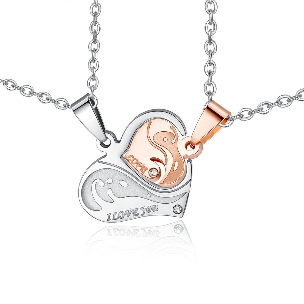 simple titanium steel heartshaped puzzle couple necklace NHKN315025