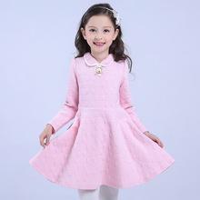 童装冬季新款女童加厚夹棉连衣裙翻领提花儿童淑女演出礼服公主裙