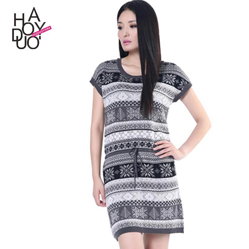 haoduoyi新款通勤復古幾何雪花針織系帶修身中長款毛衣