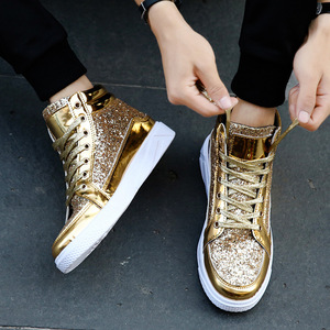 Men gold silver black sequined jazz hip hop street dance shoes nightclub glitter shiny Martin boots for male stage performance casual high-top leather shoes