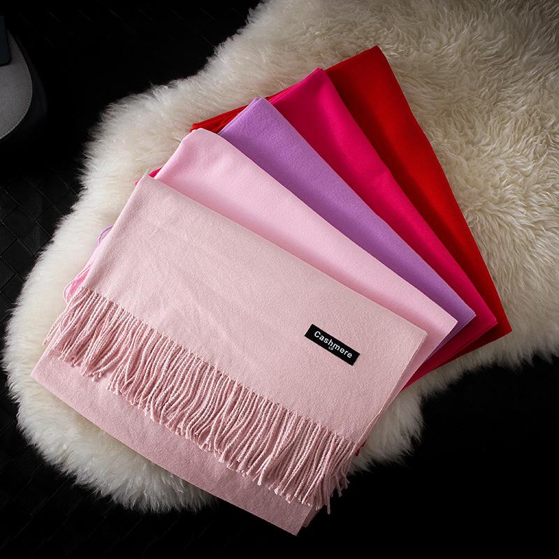 羊绒围巾女秋冬新品纯色百搭单色礼品年会LOGO仿羊绒流苏大红围巾