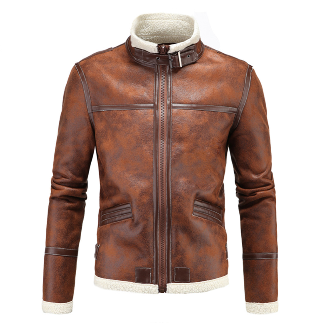 Foreign trade winter new men's pure color stand collar leather men's South Korean PU leather jacket with velvet integrated leather