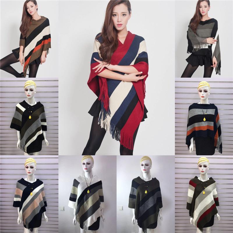 韩版女装流苏套头中长款针织斗篷女2021冬季时尚披肩条纹毛衣外套