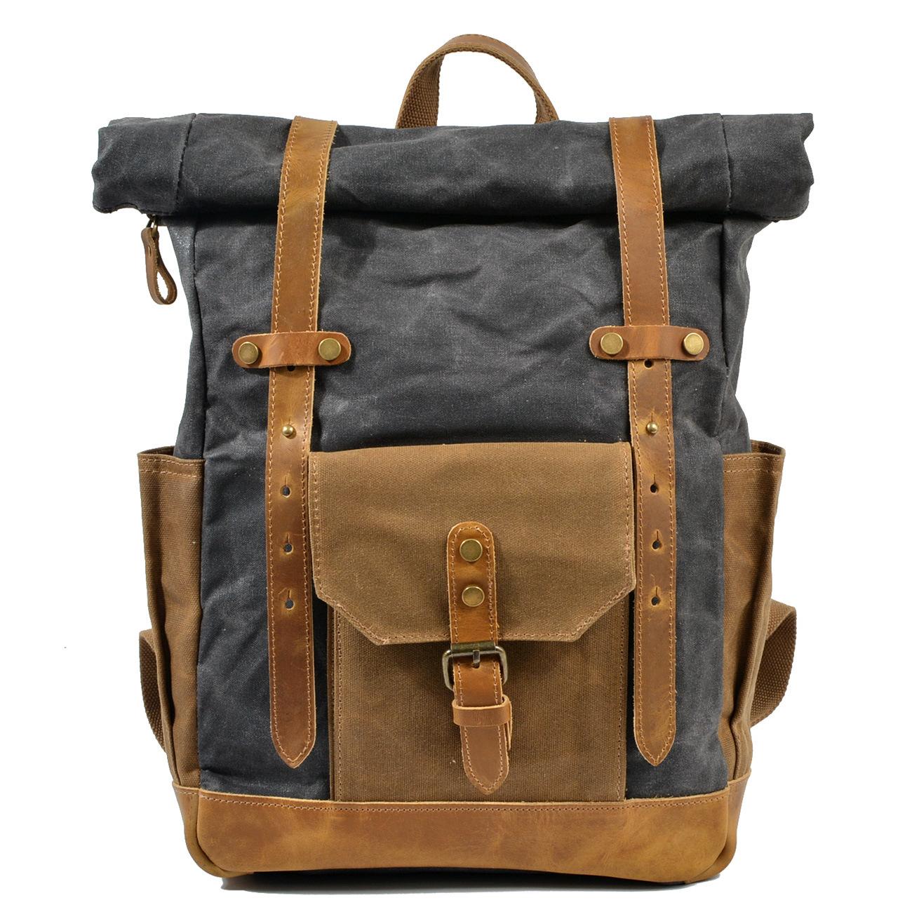 复古撞色油蜡防水帆布旅行背包电脑书包大容量户外女士双肩包男包