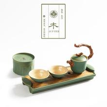 蘊窯廠家直銷粗陶一壺二杯金木水火土五行 陶瓷茶具套裝活動禮品