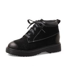 短靴女秋冬2019新款平底靴女系带马丁靴圆头复古切尔西靴女单靴