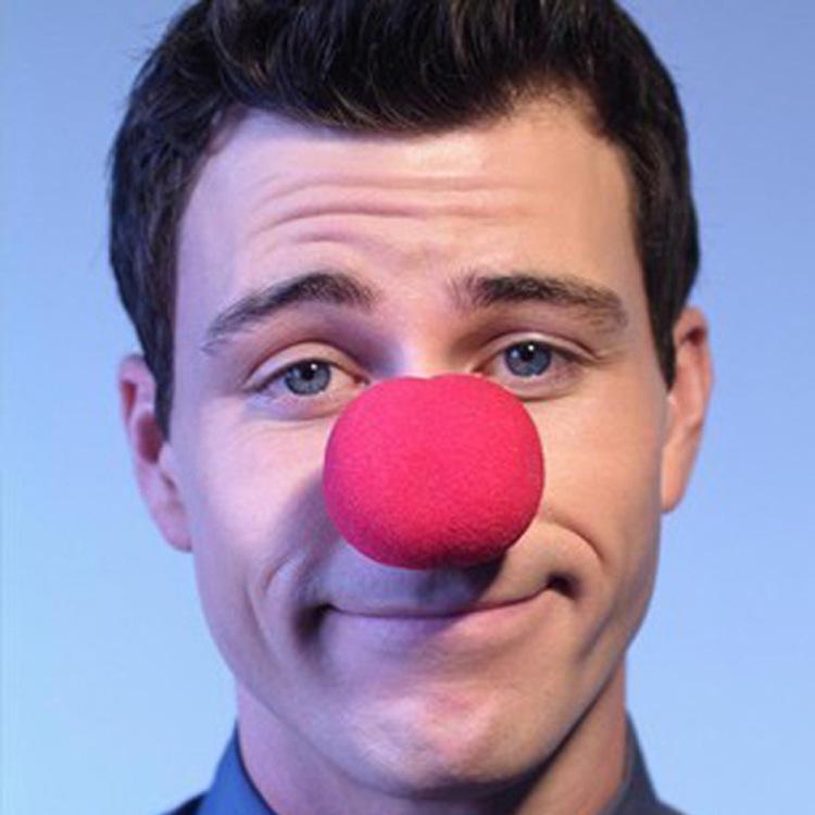 10个装 Party小丑鼻子红鼻子海绵鼻子泡沫海绵球小丑鼻子 大红色