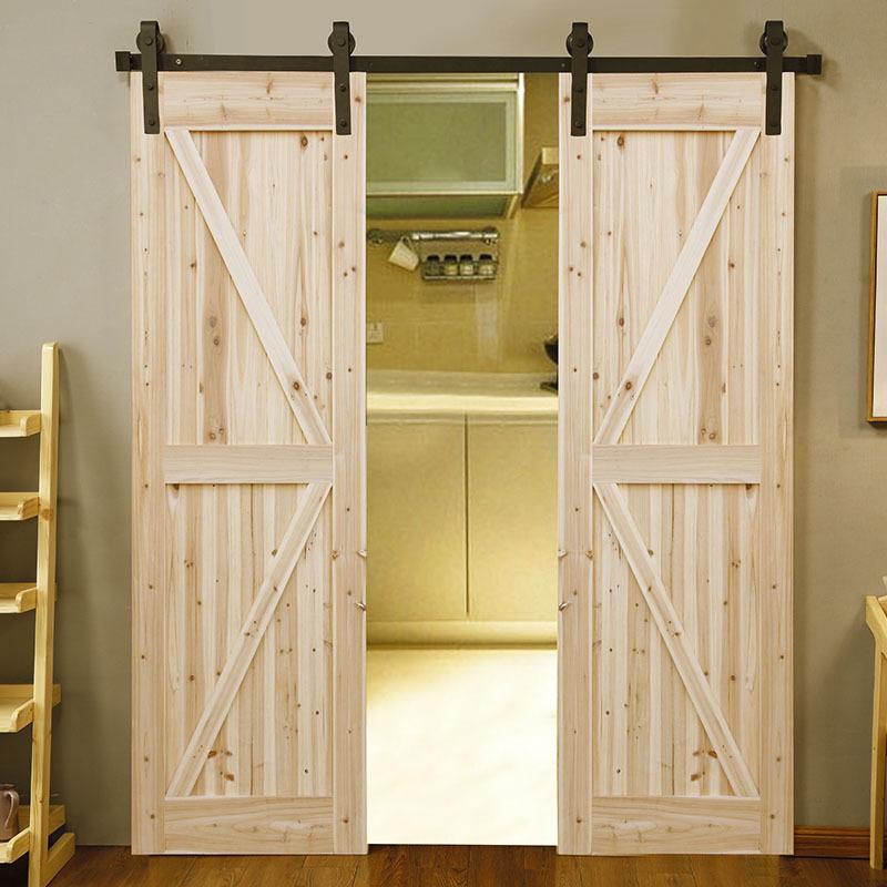 实木玻璃美式谷仓门移门定制北欧吊轨谷仓门卫生间厨房推拉室内门