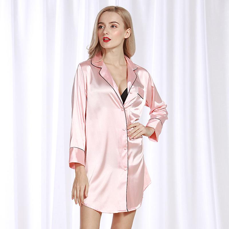 维M款丝绸性感女士睡裙夏季丝绸衬衫女性感睡衣家居服一件代发