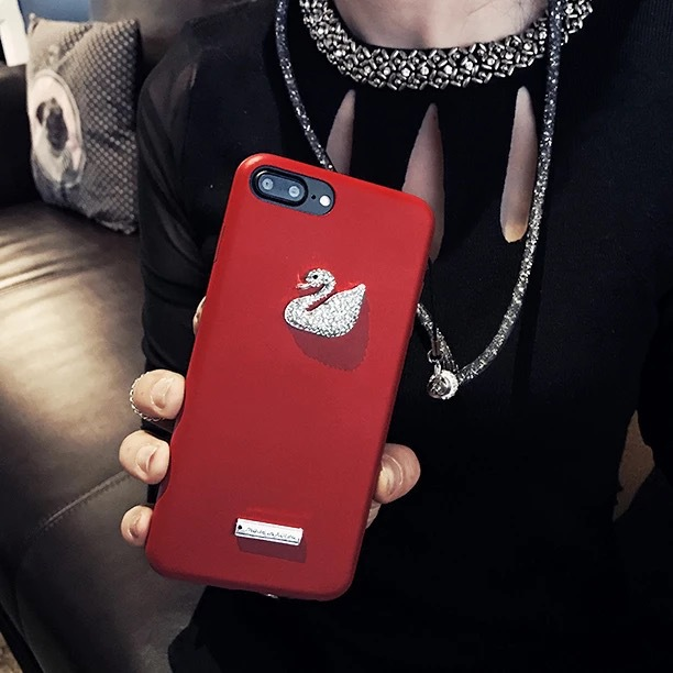 Korean fashion street brand Chinese red diamond swan iPhone7plus Apple 6S drop protection soft leather case female
