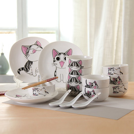Creative Cartoon Demi Ceramic Bowl Gift Set Chinese Hotel Meal Dishes Tableware
