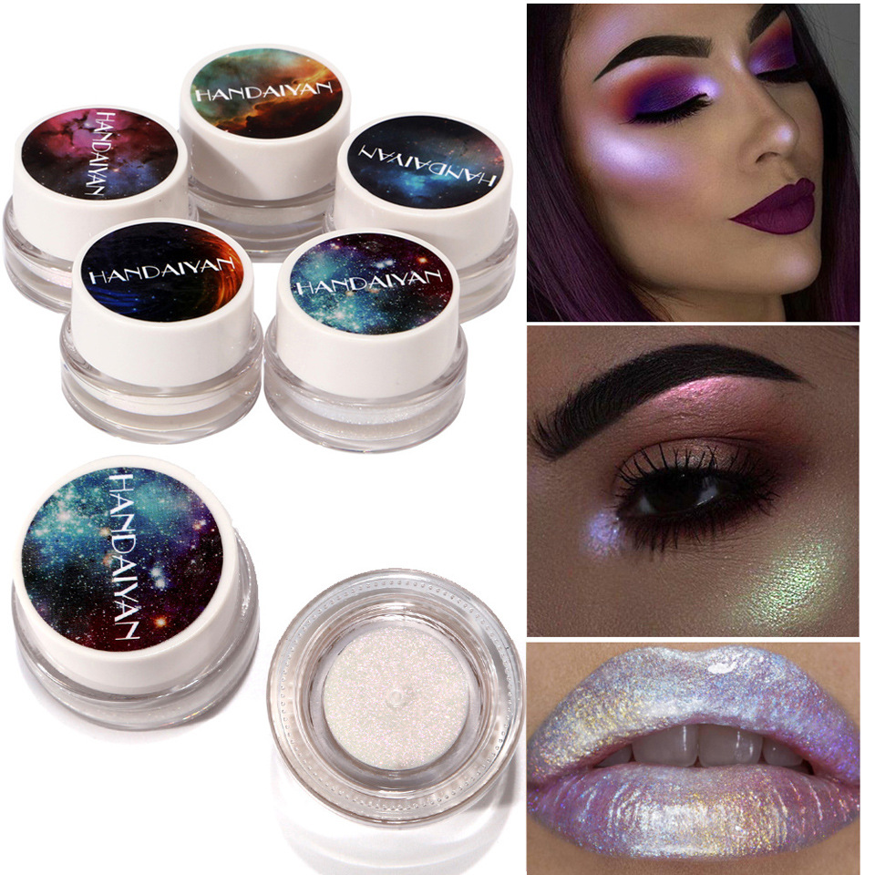 5 Color Highlights Polarized High Gloss Paste 5 Color Aurora Rainbow Glossy Eyeshadow Colorful Chameleon Highlights makeup