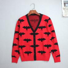 黑色蝙蝠图案提花V领单排扣开衫现货批发 欧美修身显瘦长袖针织衫