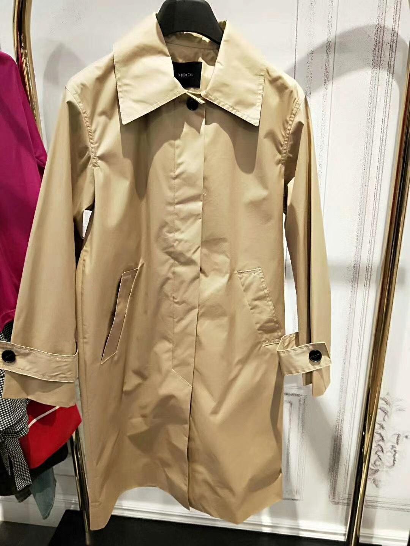 2018春装新款欧美风直筒西装领纯色中长款风衣外套女MA181TRC105
