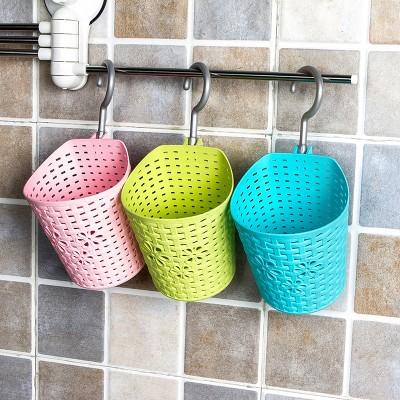 多用挂篮浴室收纳篮子藤编可挂式小篮子挂筐厨房置物架塑料收纳筐