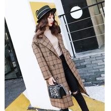 秋冬新款毛呢外套女韩版加厚中长款格纹呢大衣双排扣修身显瘦