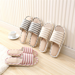 Striped linen four seasons indoor slippers cotton and linen couple non-slip soft bottom home wood floor sandals and slippers manufacturers wholesale