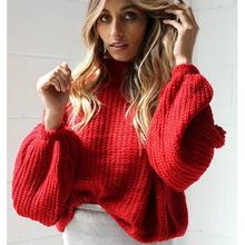 亞馬遜爆款毛衣女 歐美新外貿女裝秋冬針織寬松燈籠袖套頭毛衫