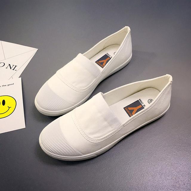 2019新款韓版時尚學生平底舒適小白鞋潮套腳休閑帆布低幫女鞋批發