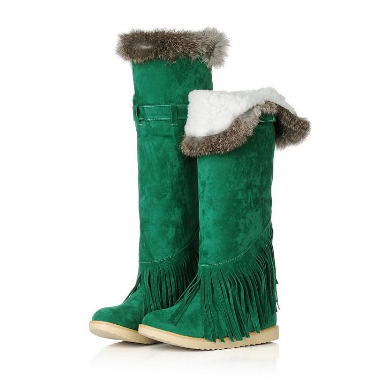 女鞋速卖通外贸代发冬韩版高筒靴子平跟流苏兔毛保暖雪地靴 1