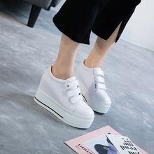 Giày nữ màu trắng hoang dã mới 2019 phiên bản Hàn Quốc của giày đế bệt đế dày Velcro tăng giày nữ thông thường Giày cao