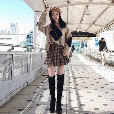 2017秋冬季新款韩版女装拼色百搭针织毛衣百褶短裙套装时尚两件套