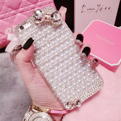6S Europe and America creative diamond claw chain pearl acrylic iPhone7plus mobile phone shell crystal bow apple 8