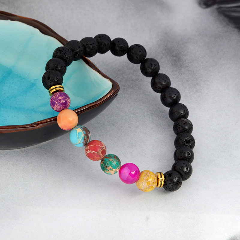 New Gesture Natural Lava Volcanic Stone Colorful Energy Stone Bead Bracelet  NHBO199844