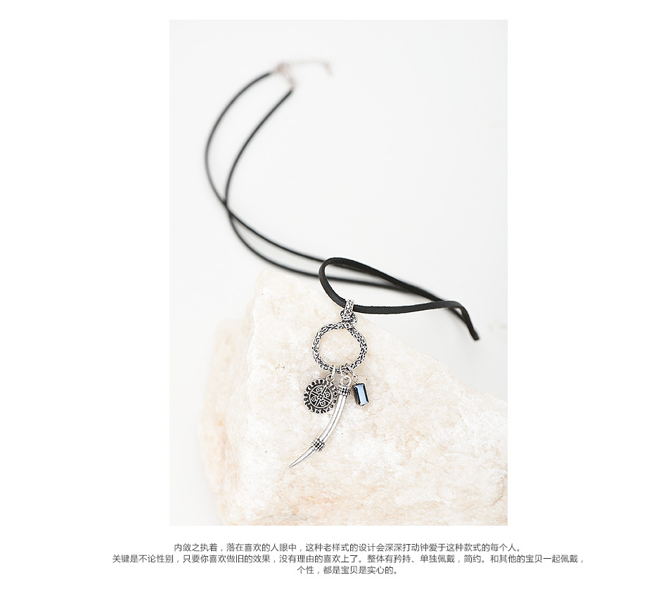 Occident and the United States alloy plating Natural stone necklace (Sub-ancient silver)NHWC0094-Sub-ancient silver