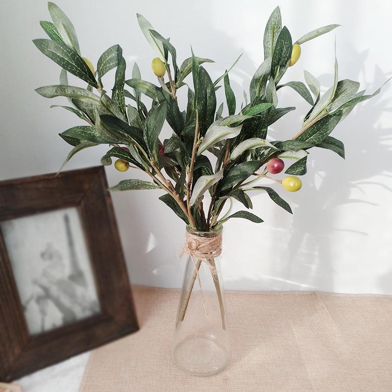 仿真橄榄枝 绿色人造3叉橄榄叶配件仿真植物墙 家居婚礼装饰用品