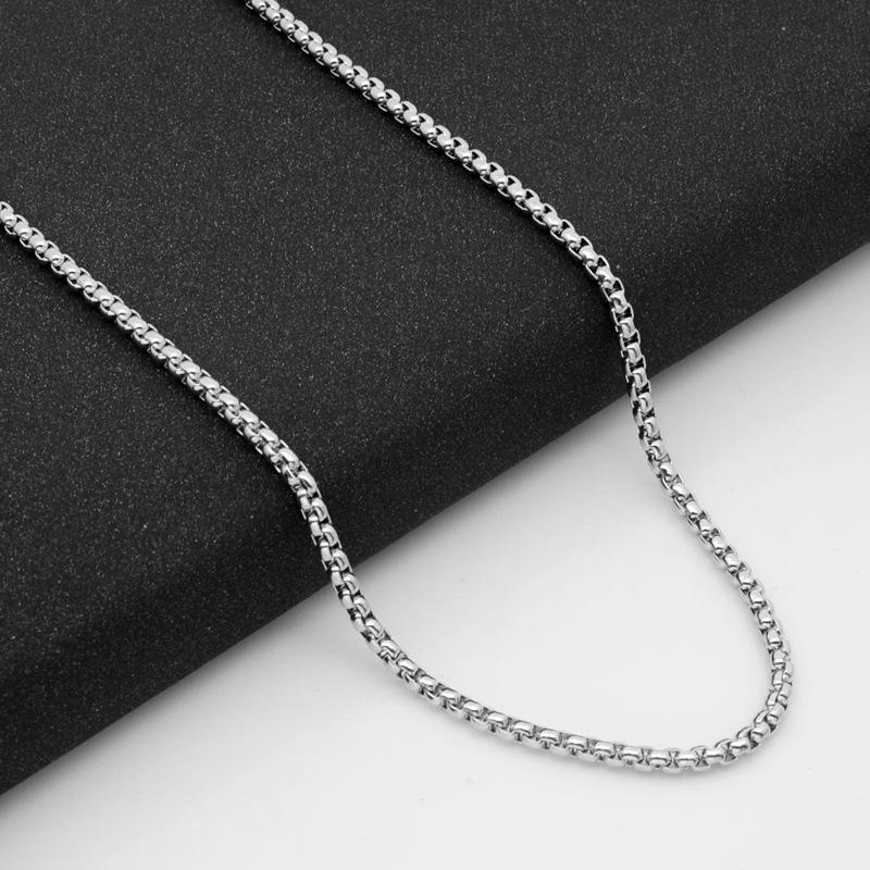 316不銹鋼方形珍珠項鏈鈦鋼飾品配鏈3MM粗鏈批發diy配件
