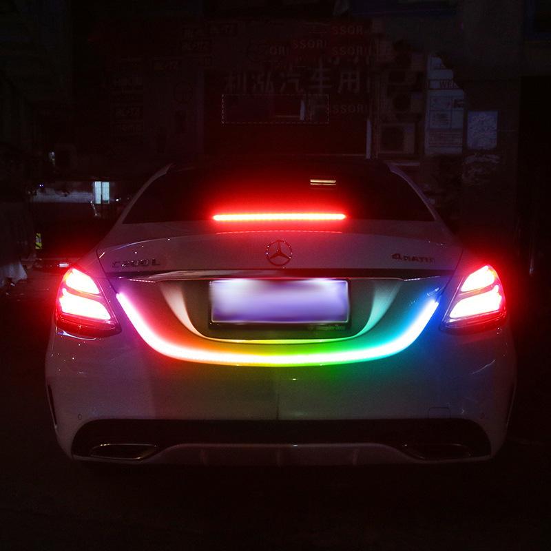 汽车LED装饰灯带 七彩跑马流光尾箱灯 幻彩高位刹车尾箱灯带