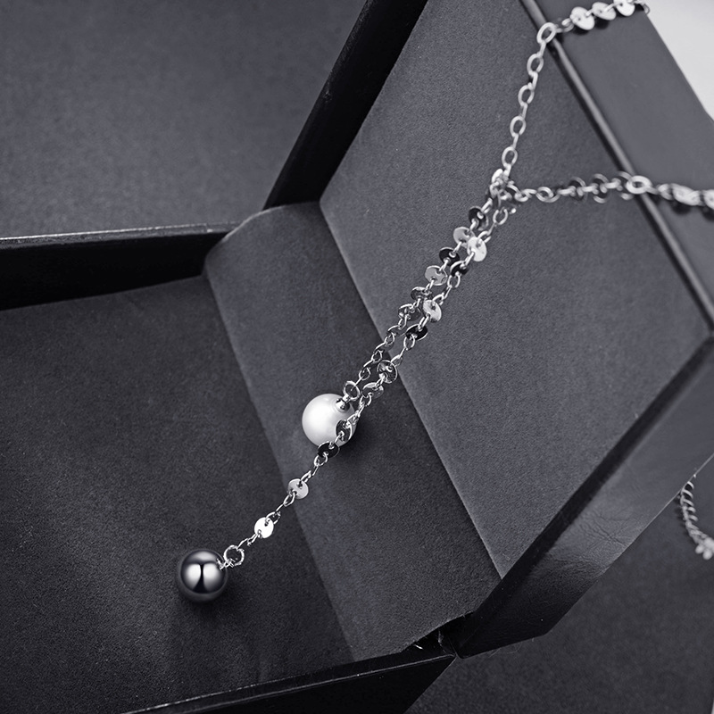 Jewelry fashion simple black and white pearl sweater chain ladies long necklace NHLJ182352