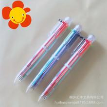 創意卡通多色圓珠筆透明按動學生個性油筆文具6色筆塑料工廠直供